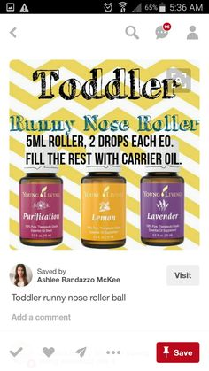 Toddler runny nose roller ball *** I used this on S *** Essential Oils For Cough, Essential Oil Uses, Young Living Oils, Young Living Essential Oils, Way Of Life, Yl Oils, Doterra Oils, Runny Nose, Wellness