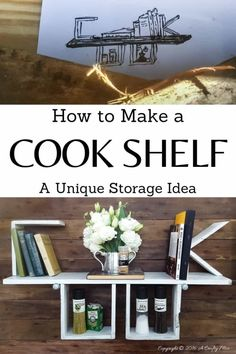 Make something special for the chef in your life. This unique COOK shelf is functional and easy to make from pallets or scrap wood. #StorageIdeas #CookShelf #ACraftyMix #PalletRepurpose #ShelfIdeas Pine Shelves, Diy Wall Shelves, Shelf, Diy Home Crafts, Diy Home Decor, Home Decor Inspiration, Decor Ideas, Diy Wood Projects, Woodworking Projects Diy