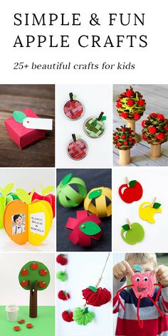 From paper to pine cones to mason jar rings, these creative apple crafts for kids are easy and fun for home, school, or camp. #applecrafts via @https://www.pinterest.com/fireflymudpie/