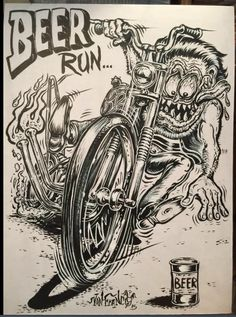 Motorcycle Art, Bike Art, Ed Roth Art, Cartoon Rat, David Mann Art, Biker Tattoos, Rat Fink, Garage Art, Kustom Kulture