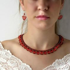 I created this red statement necklace by hand, using miyuki round seed beads. * Measurements: Necklace length: Necklace height : * All necklaces come with extension chain. *The necklace will come beautifully packaged for gift. * To complete the look, you Red Jewelry, Bead Jewellery, Beaded Jewelry, Stylish Jewelry, Jewelry Necklaces, Necklace Ideas, Diy Necklace, Indian Jewelry, Big Earrings