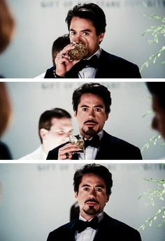 "Tony Stark spots Pepper across the room.  (RDJ, ""Iron Man"")"