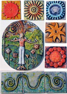 The illustrated garden, with hand-made clay tiles. Tina Schowalter