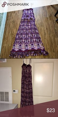 """Maxi Dress """"NWOT"""" Long spring & summer maxi dress worn Solo or with an cute jean jacket are cardigan. Has colors of purple, orange, hidden sky blue and cream sits at the ankle cute with flats are platforms with lots of stretch Xhilaration Dresses Maxi"""