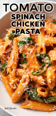 Spinach Pasta Recipes, Tomato Pasta Recipe, Creamy Pasta Recipes, Pasta Dinner Recipes, Pasta Dinners, Recipes For Tomatoes, Easy Pasta Meals, Delicious Pasta Recipes, Pasta Recipes With Chicken
