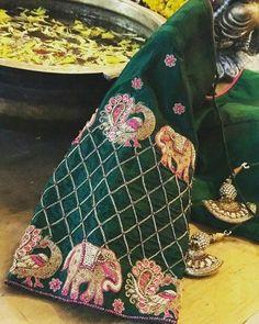 Rpyal green elephant and peacock design hand zardosi work Designer wedding saree lehenga blouses To inquire whatsapp 918888328116 or ethnicdiagmailcom Hand Work Blouse Design, Simple Blouse Designs, Bridal Blouse Designs, South Indian Blouse Designs, Maggam Work Designs, Pattu Saree Blouse Designs, Designer Blouse Patterns, Hand Embroidery Designs, Embroidery Ideas