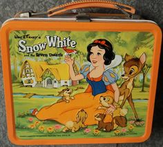 Vintage metal lunchbox and thermos made by Aladdin Inc. Artwork by Aladdin staff artist, Ann Cummings. Vintage Lunch Boxes, Vintage Metal, Aladdin, Walt Disney, Snow White, Artist, Artwork, Collections, Work Of Art