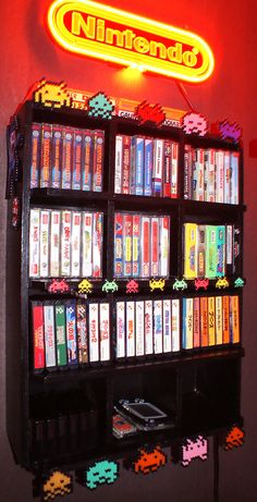 Space Invaders Accents on a Nintendo Shelf. Heidi's (stopXwhispering) Game Room from www.retro-video-gaming.com