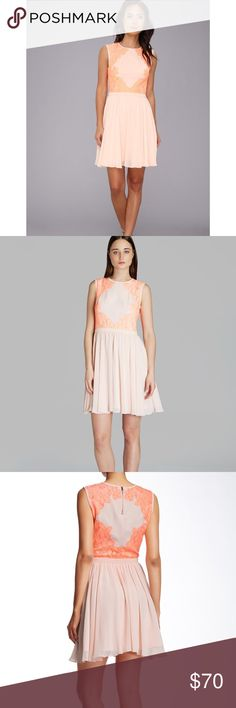 NWT Ted Baker Vember Lace Color Block Dress Sz 4 In nude pink. It is a Ted size 4, which typically converts to a US 10. Neon lace blossoms pop against a nude pink chiffon dress with a goldtone zip closure and ruffled skirt. - Crew neck - Sleeveless - Exposed back zip closure - Concealed side zip closure - Waistband - Lined Fiber Content Shell: 100% polyester Trim: 70% cotton, 30% polyamide Lining: 100% polyester Ted Baker Dresses