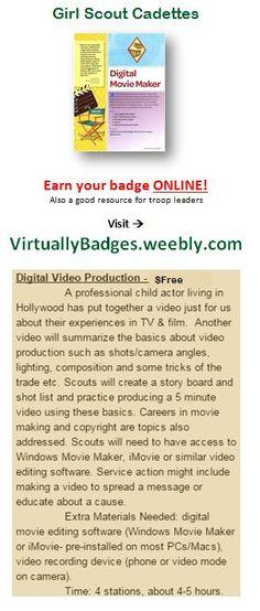 Digital Movie Maker Girl Scout Cadette badge earned online!