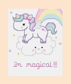PDF patrones  mágico unicornio cruz puntada
