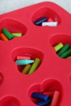#Upcycle broken crayon pieces into heart-shaped crayons! Super easy, super fun #DIY for kids.