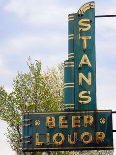 Stan's Beer & Liquor ~ Art Deco Neon Sign. Muskegon, Michigan