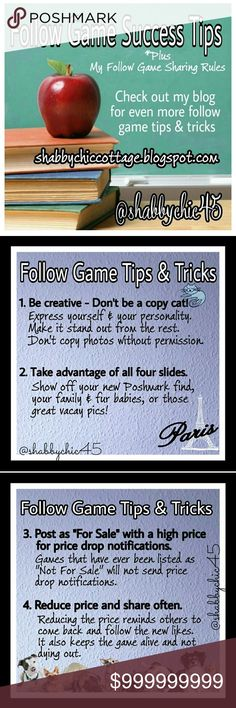 FG Tips & Tricks 🔷 FG Sharing Rules Want a successful Follow Game? Read the tips and tricks above. I will only participate in FG that are active listings. 🌟 Photos and information courtesy of @shabbychic45 and used with her permission 🌟 Bags