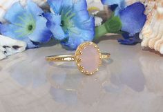 20% off-SALE Pink Chalcedony Ring  Rose Quartz by HolyLandJewelry