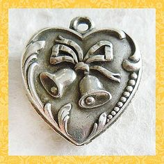 Vintage 1940's Wedding Bells Puffy Heart Sterling Charm ~ Engraved Jo