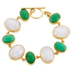 Check out this item at One Kings Lane! Link Bracelet, Chrysoprase & Moonstone