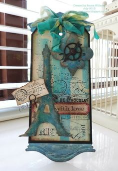 12 Tags of July ~ Tim Holtz ❤ Eiffel tower die Atc Cards, Card Tags, Gift Tags, Scrapbooking, Scrapbook Paper Crafts, Image Tour Eiffel, Paris Cards, Handmade Tags, Shabby