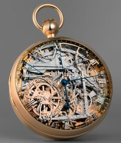 Marie Antoinette's gold Breguet pocket watch, ca. 1827. It took 44 years to complete after it was first commissioned in 1793. Marie Antoinette never saw the watch through to its completion, as she was sent to the guillotine 10 years before its completion. It is referred to as the Queen/Mona Lisa of watches.