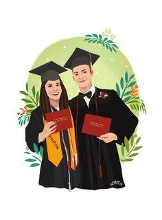 Paar Illustration, Couple Illustration, Portrait Illustration, Digital Illustration, Graduation Drawing, Graduation Diy, Graduation Gifts For Her, Graduation Portraits, Cute Couple Wallpaper