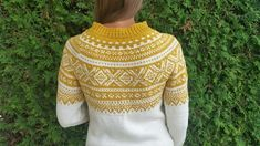 Marius genser (S) Sennep/ivory Hand Knitted Sweaters, Sweater Knitting Patterns, Crochet Patterns, Fair Isle Knitting, Free Knitting, Norwegian Knitting, Icelandic Sweaters, Knitting Projects, Knitwear