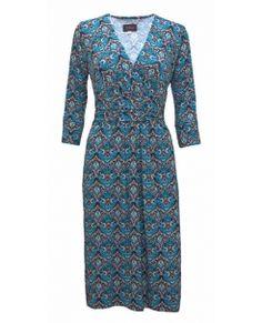 Crossover Jersey Dress Cloisonne. Amazing blue print, best selling shape.