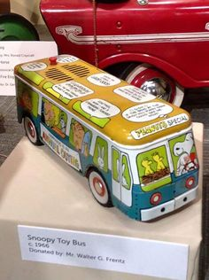 CollectPeanuts.com on Facebook - It should be in a museum! Karen shares this 166 Chein Talking Peanuts bus. See it in person at the Detroit Historical Museum.  Join the Snoopy Spotters! Post photos of your Peanuts finds on the wall.