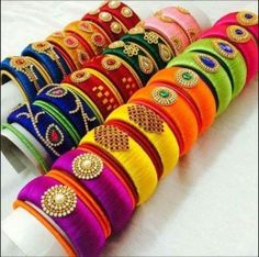 Manufacturer of silk thread jewelries in Indian Ethnic Designs. All silk thread jewelry are handmade and can be customised as per the customer requirement. Silk Thread Bangles Design, Silk Thread Necklace, Silk Bangles, Bridal Bangles, Thread Jewellery, Jewellery Designs, Jewelry Trends, Anniversary Gift For Her, Wedding Anniversary
