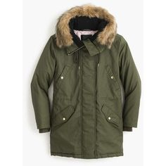J.Crew Perfect Winter Parka ($400) ❤ liked on Polyvore featuring outerwear, coats, j crew parka, parka coat, insulated coat, quilted coat and leather-sleeve coats
