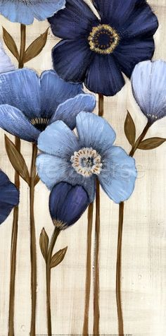 ▨texturas - Fine-Art Print - Fleurs Bleues II by Maja Fabric Painting, Painting & Drawing, Canvas Art, Canvas Prints, Blue Flowers, Pink Tulips, Painting Inspiration, Flower Art, Watercolor Art