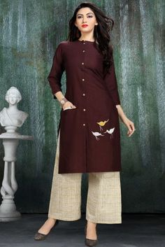 Wholesale Embroidered Occasional Wear Rayon Long Length Kurti With Long Sleeve Cataloge Salwar Designs, Kurta Designs Women, Kurti Designs Party Wear, Blouse Designs, Plain Kurti Designs, Pakistani Dresses, Indian Dresses, Kurti Styles, Kurta Neck Design