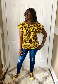 African Shirt Dress, Ankara Blouse, African Tops For Women, Blouses For Women, Yellow Blouse, Yellow Top, African Blouses, Open Back Top, Loose Fitting Tops