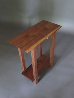 Small Table w/ Low Shelf narrow end table live by MokuzaiFurniture