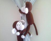 Monkey Curtains Tie-backs, Crochet Monkey, Amigurumi, Custom Order Pick Color of your Monkey