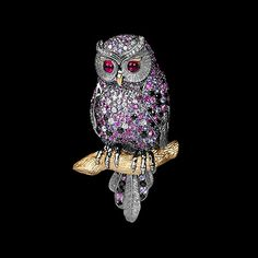 Brooch Owl - buy in Mousson Atelier - Black gold, yellow gold, multicolored sapphires, diamonds, pink tourmaline