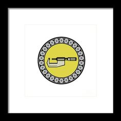 Caliper Ball Bearing Circle Retro Framed Print by Aloysius Patrimonio.   Illustration of a caliper tool set inside ball bearing circle on isolated background done in retro style. #illustration #CaliperBallBearing