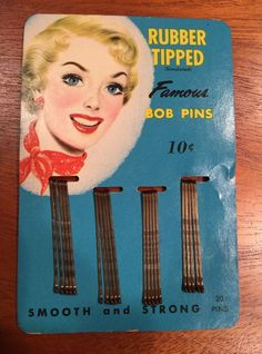 NOS Vintage 1940's Rubber Tipped Bob Pins Hair Bobby Vanity Litho Advertising #RubberTippedFamousBobPins