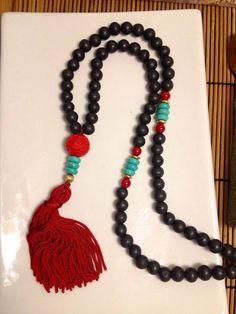 108 Bead Cinnabar Wooden Tassel Mala Necklace by TheArtsyNomad Boho Jewelry, Jewelry Crafts, Beaded Jewelry, Jewelery, Handmade Jewelry, Fashion Jewelry, Jewelry Design, Beaded Bracelets, Mala Bracelet Diy