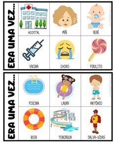 FICHAS PARA PRODUÇÃO DE TEXTO Preschool Classroom, Kindergarten, Free Alphabet Printables, Learn Portuguese, Apraxia, Pre Writing, Conte, Learn To Read, Speech Therapy