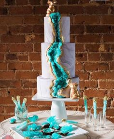 Edible Marble Swirl Wedding Cake, with rock sugar clusters to resemble natural geode crystals