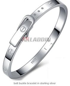 belt buckle bracelet in sterling silver Cheap Silver Jewelry, Crystal Jewelry, Bangles, Bracelets, Cartier Love Bracelet, Belt Buckles, Pu Leather, Crystals, Sterling Silver