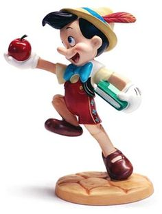 WDCC Disney Classics Pinocchio Goodbye Father #WDCCDisneyClassics #Art. Apple: Pewter stem. Retired 11/98.