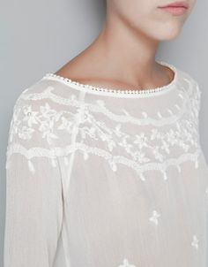 BLOUSE EMBROIDERED WITH FLOWERS AND PEARLS - Shirts - Woman - ZARA United Kingdom