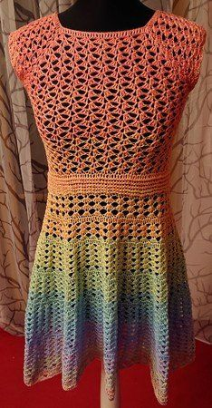 Kleid Hakeln Farbverlaufsgarn Verhakeln Kleidung Hakeln Kleider Hakelkleid