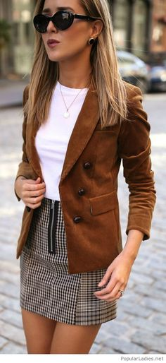 White top, plaid mini skirt and brown blazer