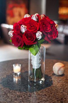 Baseball Rose Centerpiece Idea Cute For A Theme Wedding