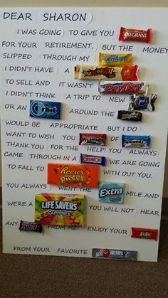 Retirement candy thank you!