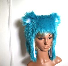 Blue Animal Hat Faux Fur Turquoise Blue and White (107.00 for 2)