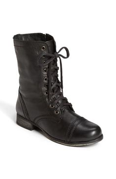 Steve Madden Troopa boot Steve Madden Troopa boot in black. Steve Madden Shoes Lace Up Boots Lace Up Combat Boots, Black Leather Boots, Leather And Lace, Moto Boots, Leather Booties, Real Leather, Brown Leather, Steve Madden Troopa Boots, Steve Madden Shoes