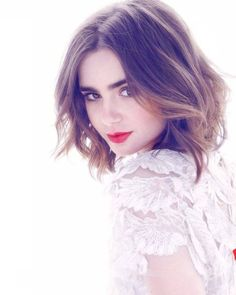 Lily Collins makes a beauty statement with glossy curls and statement red lips. Description from pinterest.com. I searched for this on…